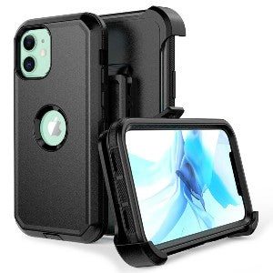 iPhone 12 Pro Max Heavy Duty Defender Shockproof Belt Clip Holster Series Case Black