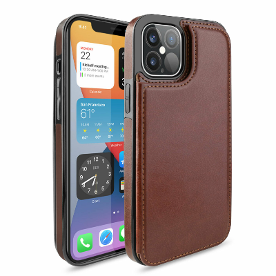 iPhone 12 Pro Max Wallet Case Magnetic Leather Stand Card Holder Cover Brown