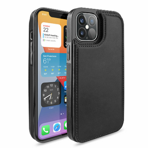 iPhone 12 Pro Wallet Case Magnetic Leather Stand Card Holder Cover Black