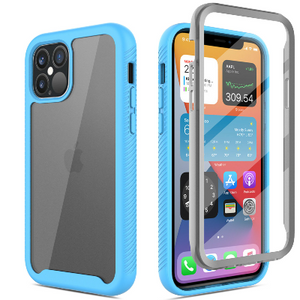 iPhone 12 Pro Max Clear Case With Built-in Screen Protector Blue