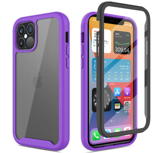 iPhone 12 Pro Max Clear Case With Built-in Screen Protector Purple