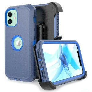 iPhone 12 Pro Heavy Duty Defender Shockproof Belt Clip Holster Series Case Blue
