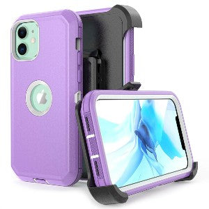 iPhone 12 Pro Max Heavy Duty Defender Shockproof Belt Clip Holster Series Case Pink