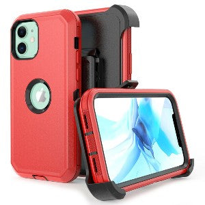 iPhone 12 Pro Max Heavy Duty Defender Shockproof Belt Clip Holster Series Case Red