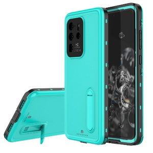 Samsung Galaxy S20 Ultra 5G Waterproof case W/ Built-in Screen Protector Kicksatnd Teal