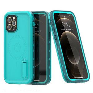 iPhone 12 Pro Max Waterproof Case Kickstand Cover with Built-in Screen Protector Teal