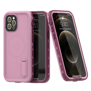 iPhone 12 Pro Max Waterproof Case Kickstand Cover with Built-in Screen Protector Pink