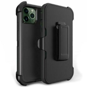 iPhone 11 Pro Max Defender Heavy Duty Shockproof Belt Clip Case Black