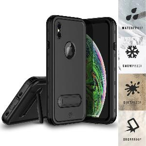 iPhone Xs Max Waterproof Case Kickstand Black