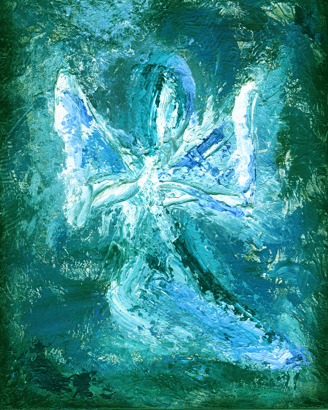 Tiffany Blue Angel Wall Art | Angel Painting | Turquoise Angel Art | Fine Art Metallic Canvas | Visionary Art | Small Medium Large Angel Art | Peaceful