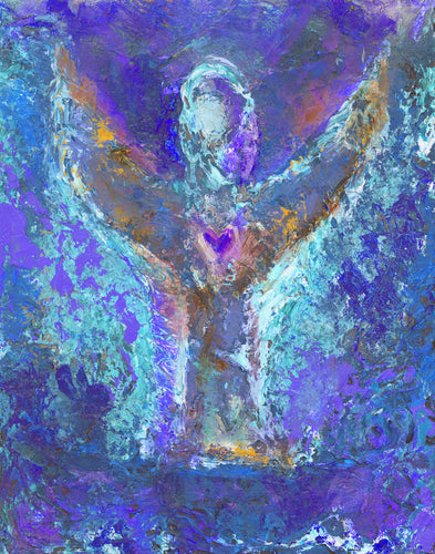 Purple Angel Wall Art | Modern Angel Art | Metaphysical Angel Art | Fine Art Metallic Canvas | Bohemian Art | Spiritual Art | Happy Angel Painting | Angel Gift