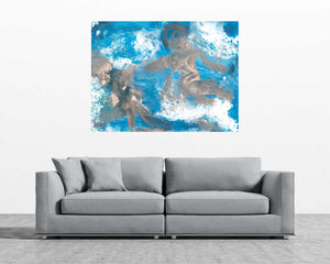 Silver Blue Angel Art | Contemporary Modern Angel Art | Abstract Angel | Fine Art Canvas | Light Turquoise Blue Angel Art | Inspirational