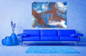 Patriotic Angel Art | Contemporary Modern Angel Art | Abstract Angel | Fine Art Canvas | Red White Blue Angel Art | Inspirational