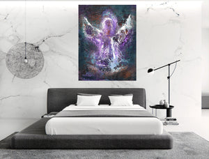 Angel Wall Art | Modern Angel Art | Abstract Angel | Fine Art Metallic Canvas | Bohemian Art | Spiritual Art | Purple Angel Painting | Gift