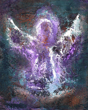 Load image into Gallery viewer, Angel Wall Art | Modern Angel Art | Abstract Angel | Fine Art Metallic Canvas | Bohemian Art | Spiritual Art | Purple Angel Painting | Gift