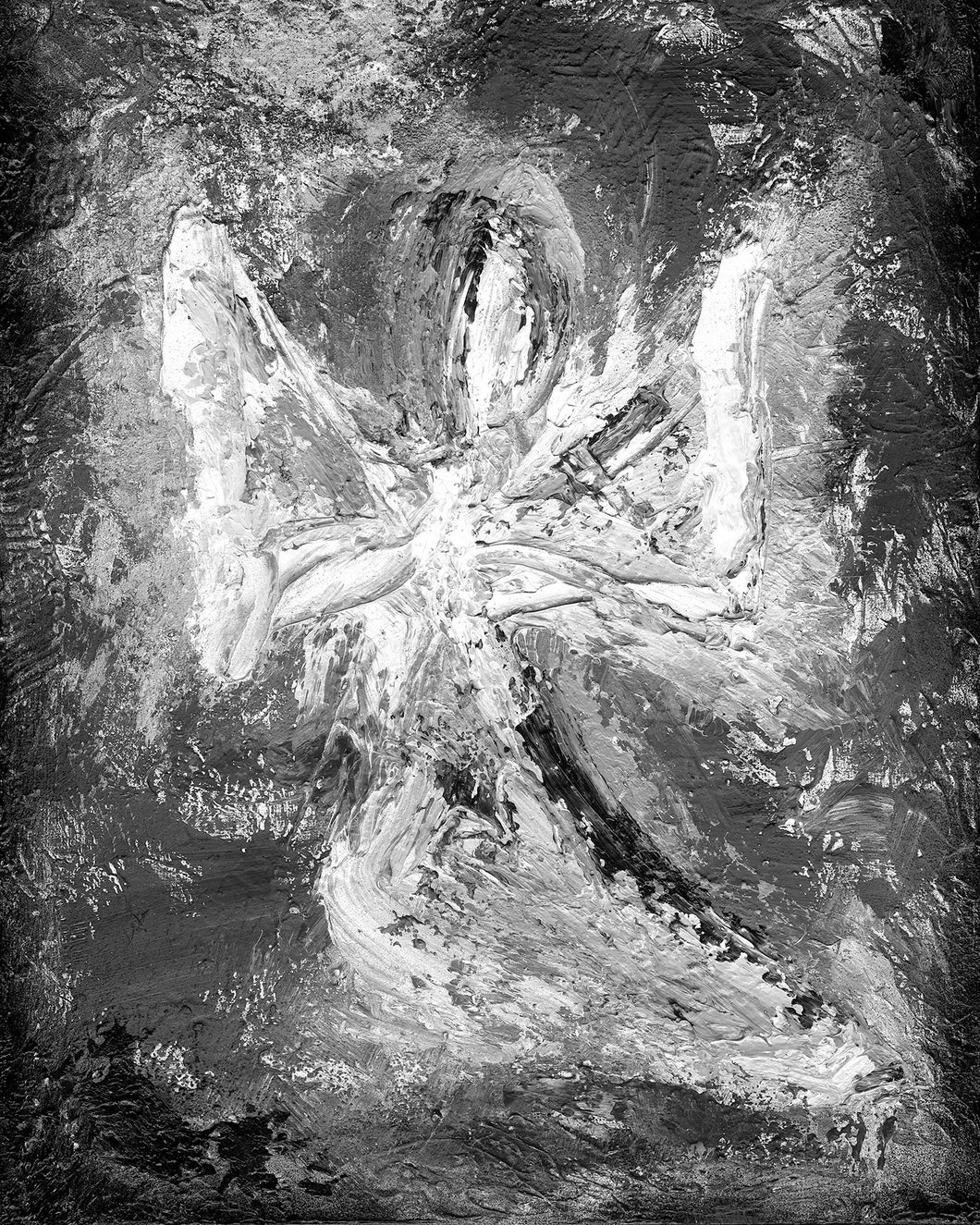Monochrome Angel Wall Art | Contemporary Modern Angel Art | Abstract Angel | Fine Art Canvas | Black and White Angel Art | Inspirational
