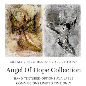 Monochrome Angel Wall Art | Angel Art | Abstract Angel | Christian Art | Fine Art Metallic Canvas | Angel Wall Art | Black and White Art