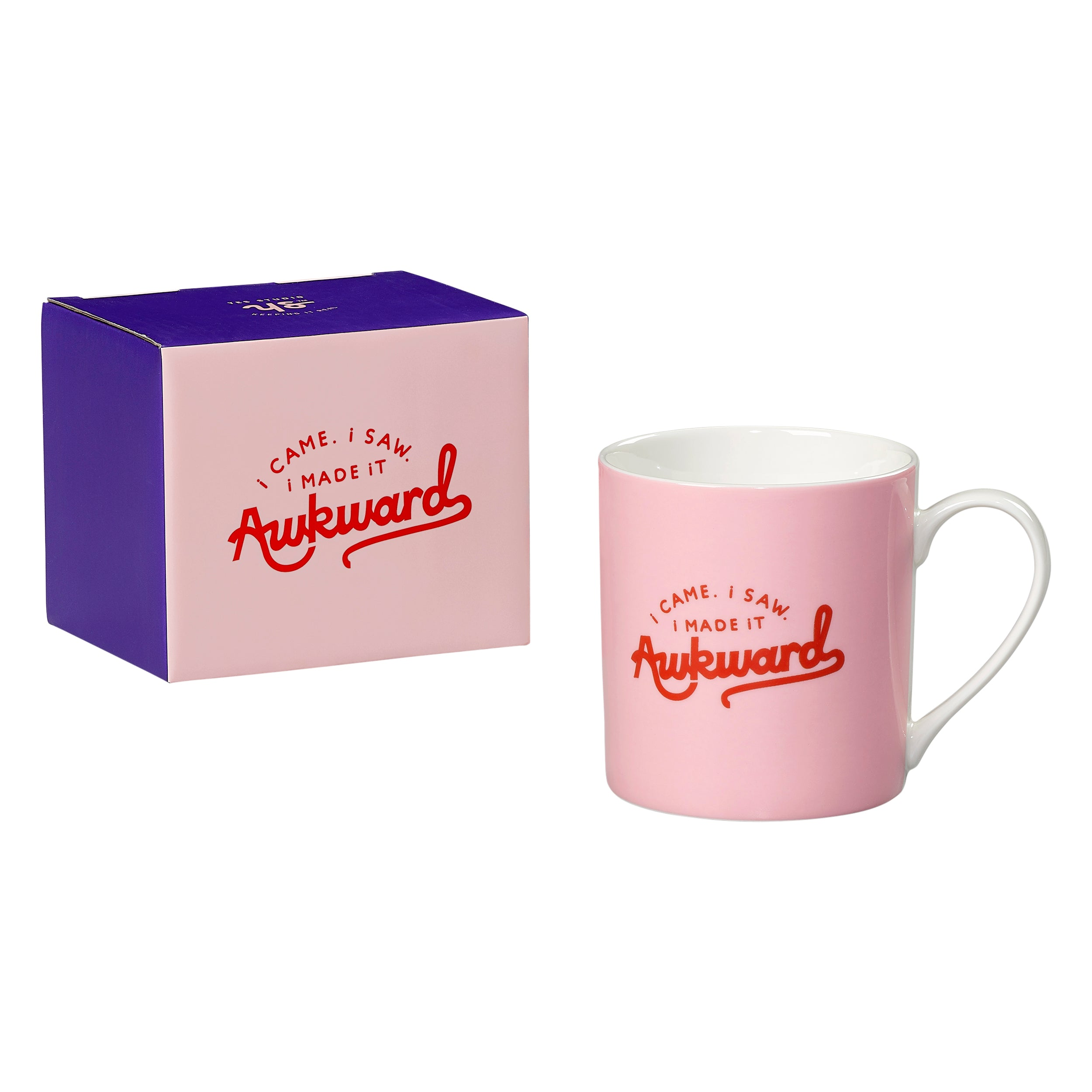Yes Studio, Bone china mug in pink with white handle, Reads: 'I came, I saw, I made it awkward',