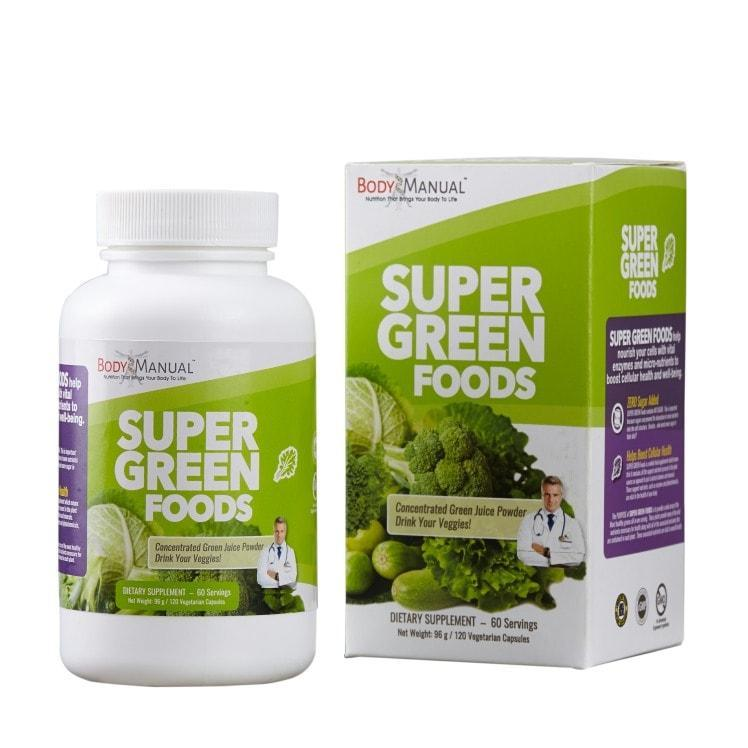 bodymanual Capsules (2-Month Supply) Super Green Foods - Capsules, Packets, Powder