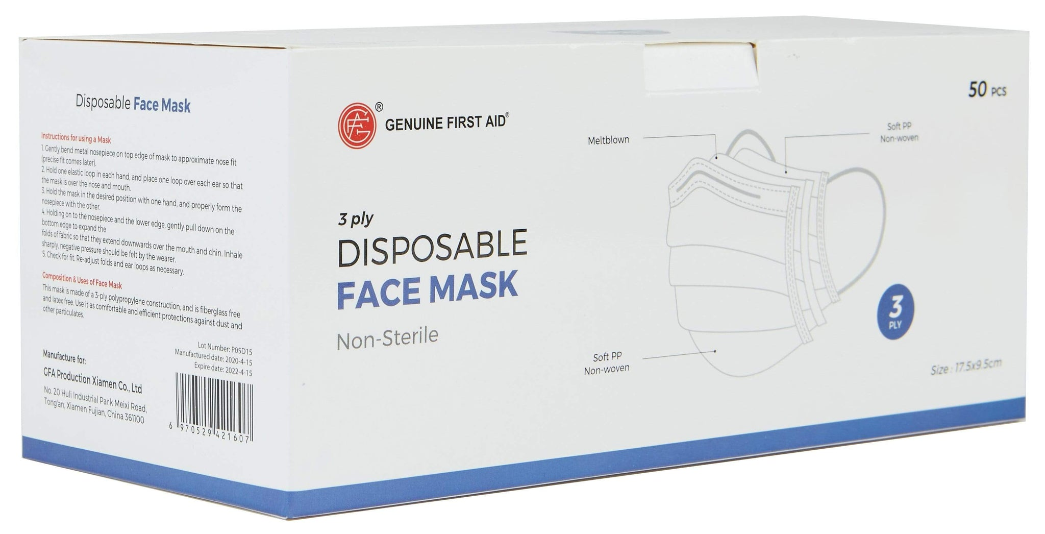 3-Ply Disposable Masks - Box of 50 - IN STOCK IN USA!