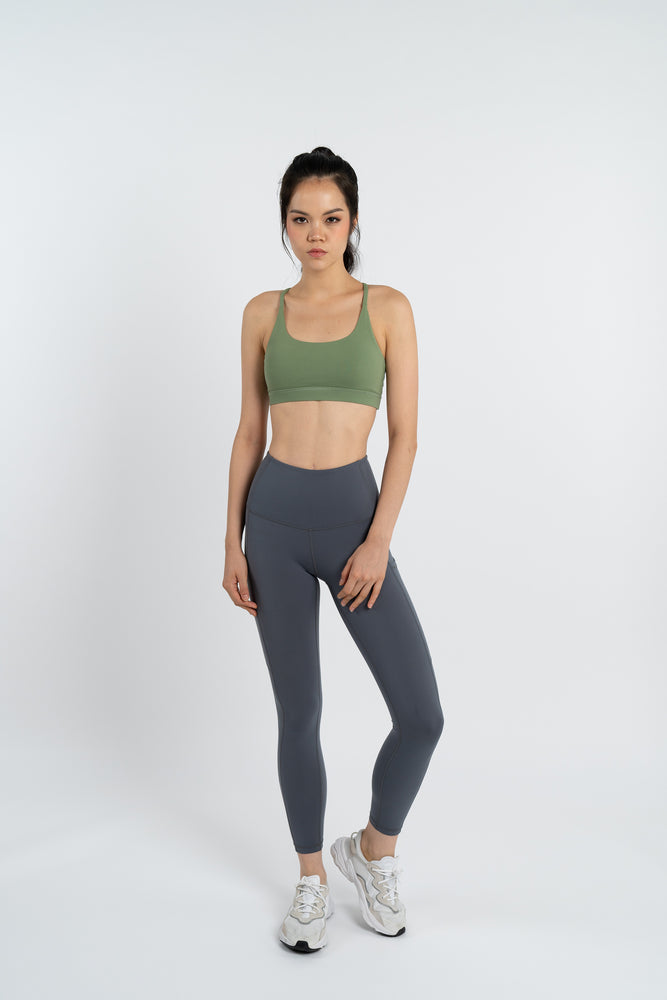 Gym Squad Active Agility Mesh Bra in Olive