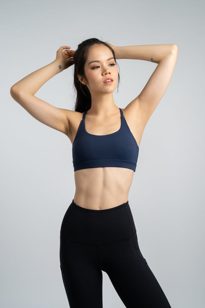 Gym Squad Active Agility Mesh Bra in Navy