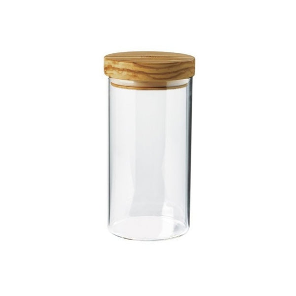 Berard Glass Storage Jar with Olive Wood Lid - 20cm
