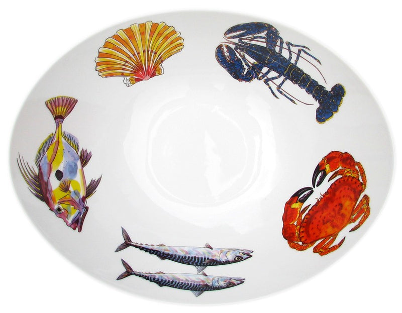Richard Bramble 27cm Oval Bowl - Mixed Fish