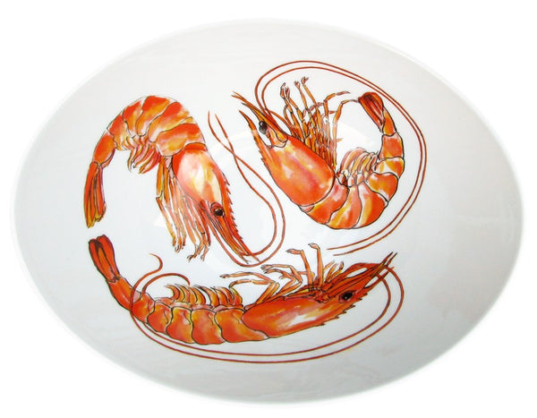 Richard Bramble 27cm Oval Bowl - Shrimp