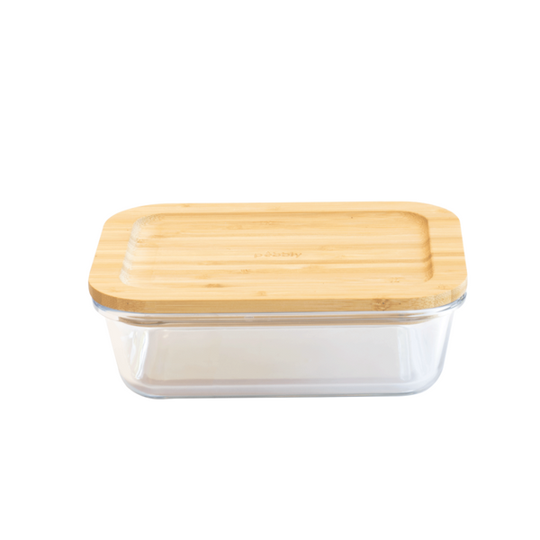 Pebbly Rectangular Glass Storage Container with Bamboo Lid