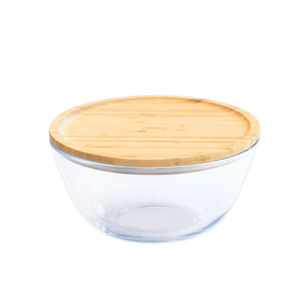 Pebbly Glass Bowl with Bamboo Lid
