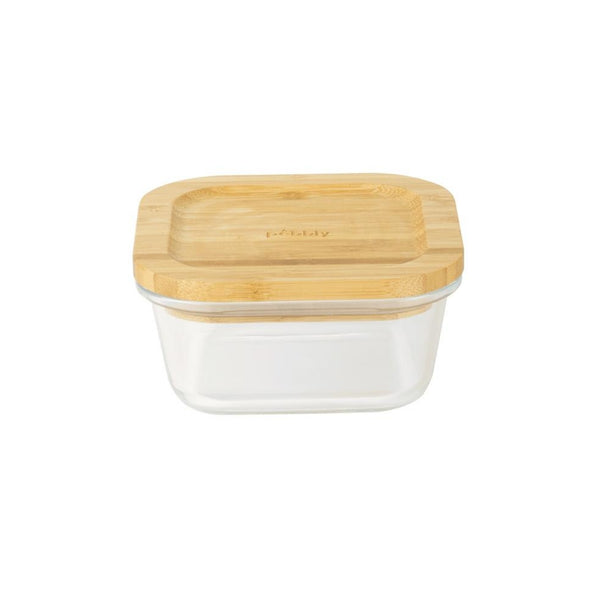 Pebbly Square Glass Container with Bamboo Lid - 13cm