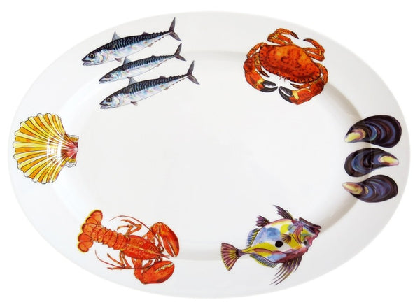 Richard Bramble Oval Plate 39cm - Mixed Fish