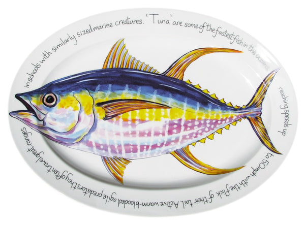Richard Bramble Oval Plate 39cm - Tuna