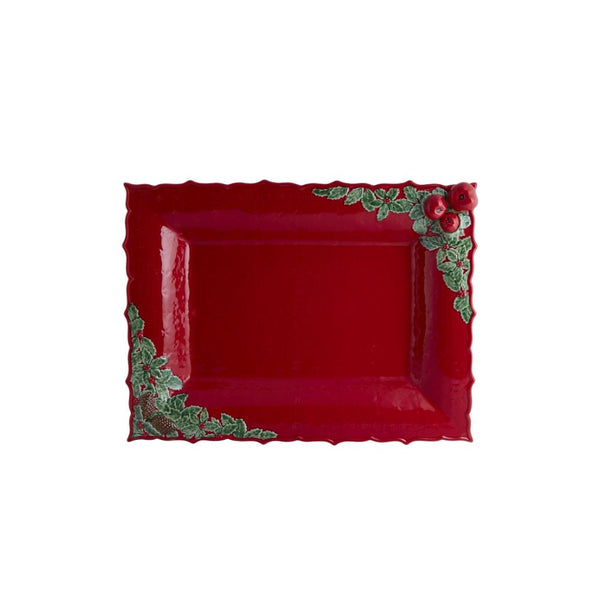 Bordallo Pinheiro Red Christmas Garland Platter
