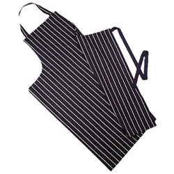 Butchers Stripe Apron Navy Traditional Long Woven