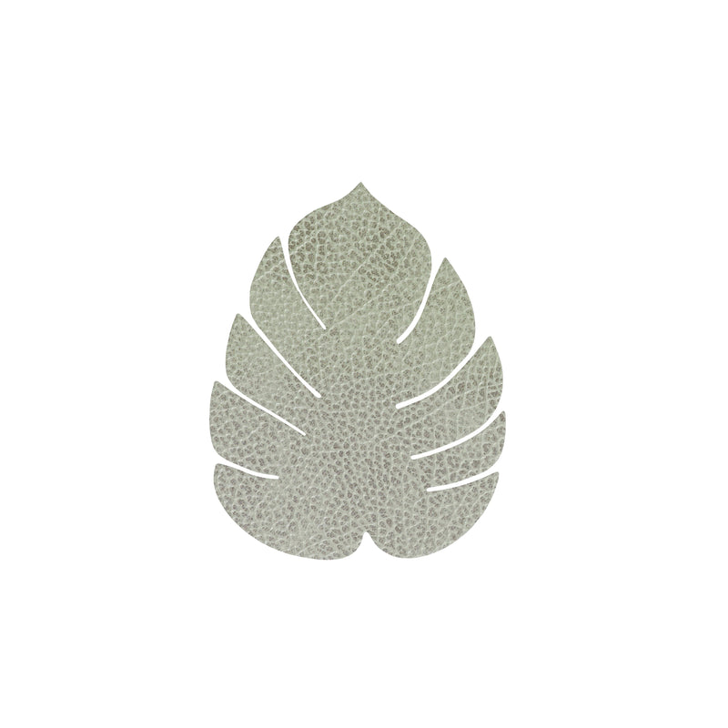 LIND DNA Leather Leaf Coaster - Textured Olive