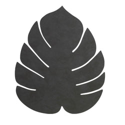 LIND DNA Leather Leaf Table Mat - Large Black