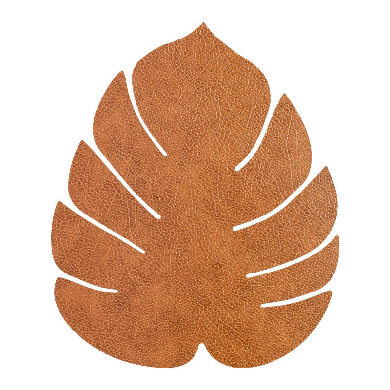 LIND DNA Leather Leaf Table Mat - Large Natural
