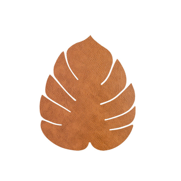 LIND DNA Leather Leaf Table Mat - Small Natural