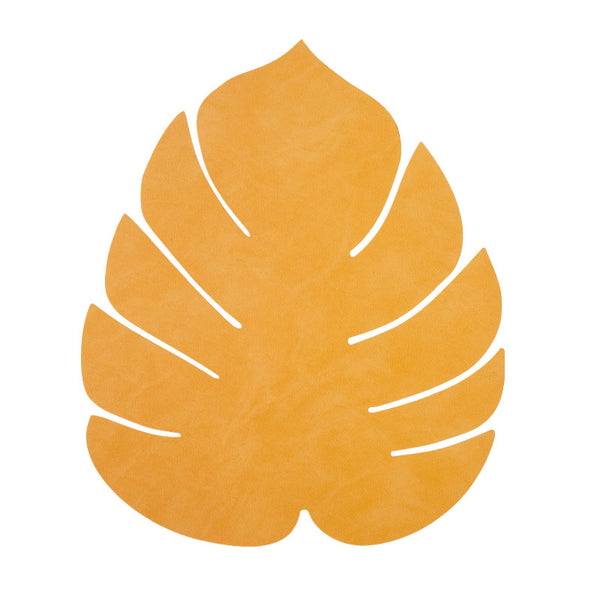 LIND DNA Leather Leaf Table Mat - Small Curry