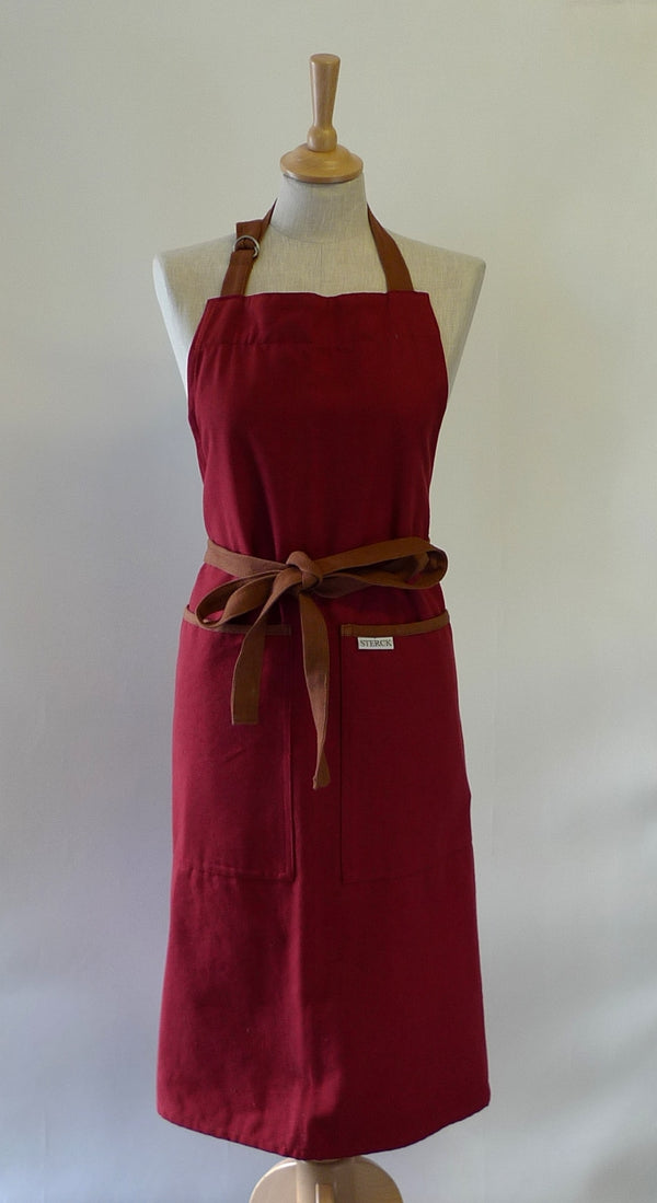 Sterck Large Apron - Burgundy & Brown
