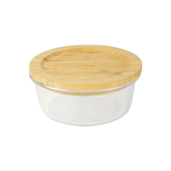 Pebbly Round Glass Container with Bamboo Lid - 15cm