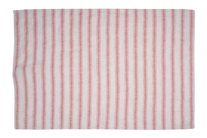 Canvas Home Linen Striped Tea Towel - Red