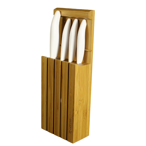 Kyocera White 4 Piece Ceramic Japanese Knife Set with Bamboo Block