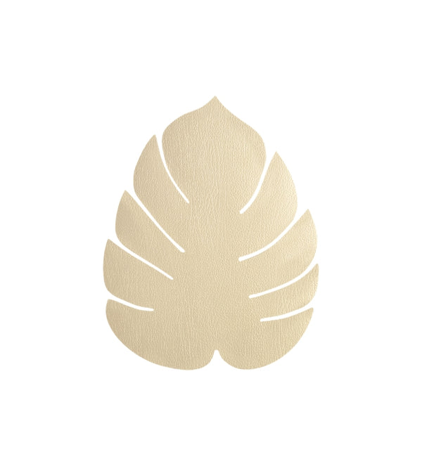 LIND DNA Leather Leaf Table Mat - Small Gold