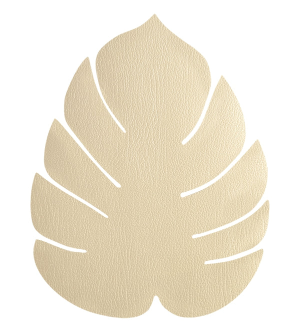 LIND DNA Leather Leaf Table Mat - Large Gold