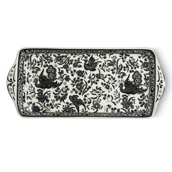 Burleigh Rectangular Tray Black Regal Peacock - 28cm