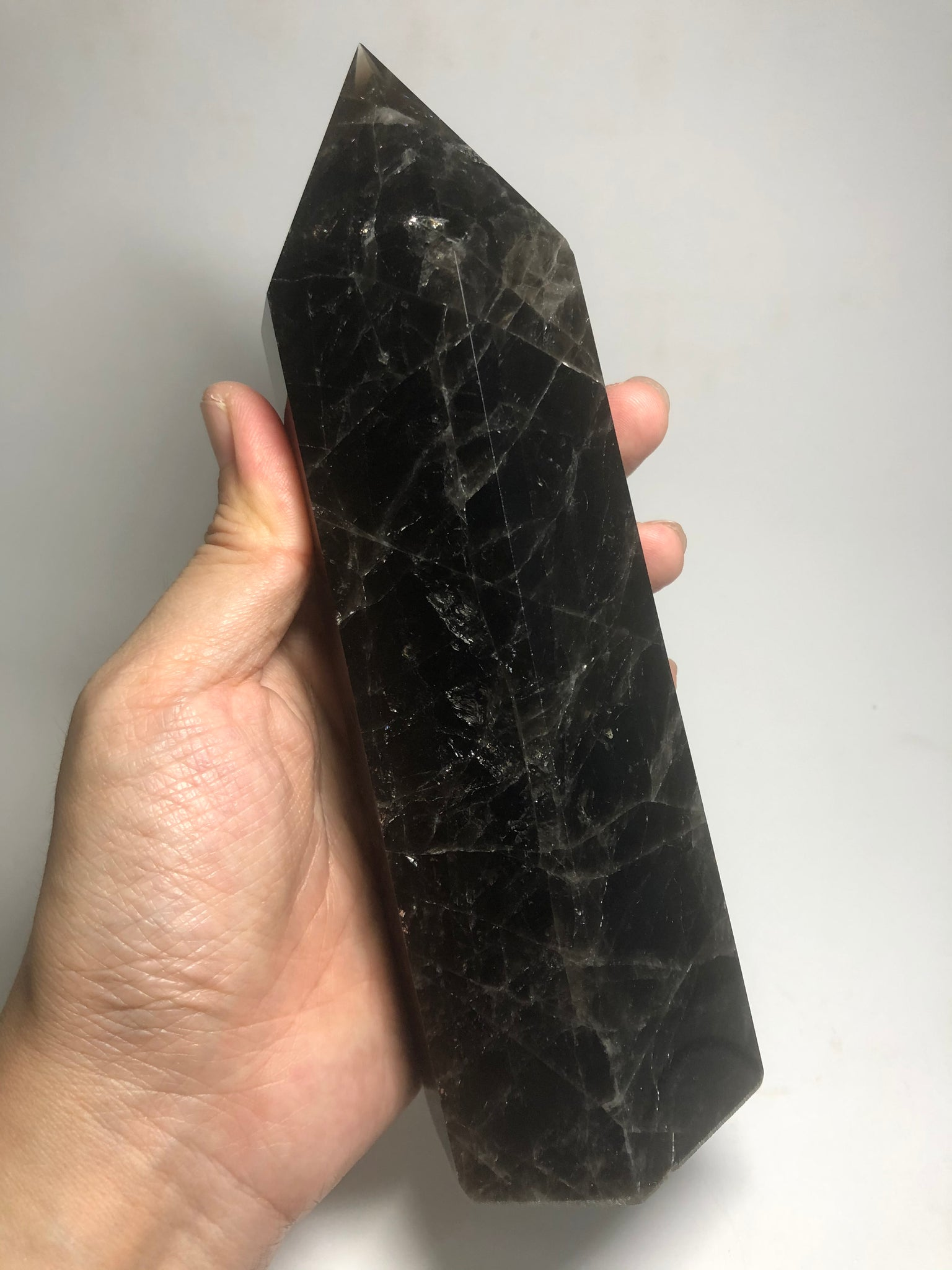 Black Smoky Quartz Crystals Point 1002g