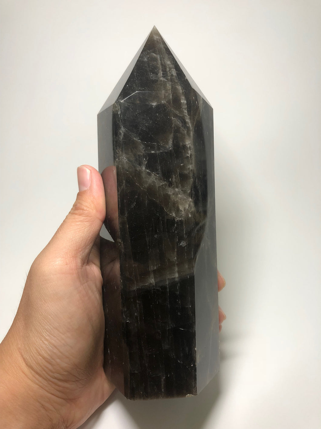 Black Quartz Crystal Point 1330g